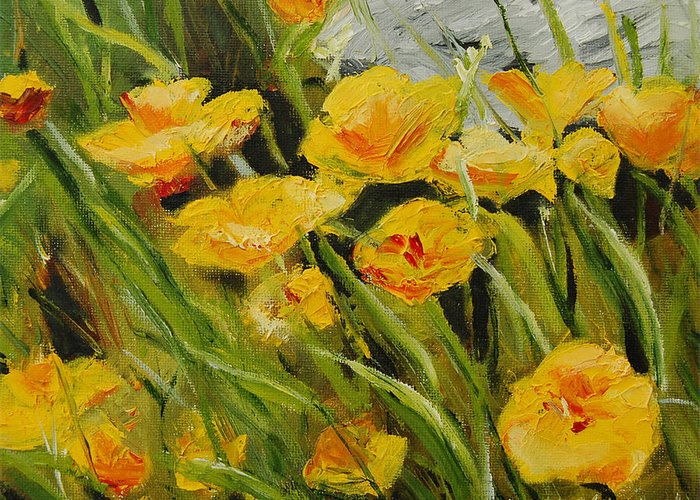 Yellow Greeting Card featuring the painting Yellow Flowers by Lisa Konkol
