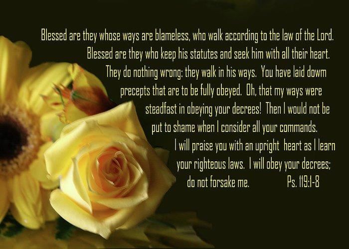 Scripture Greeting Card featuring the photograph Yellow Flowers Ps.119 V 1-8 by Linda Phelps