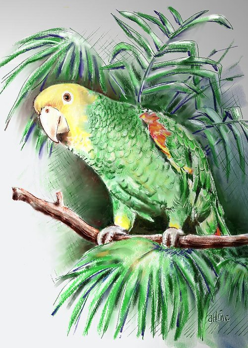 Bird Greeting Card featuring the digital art Yellow-headed Amazon Parrot by Arline Wagner