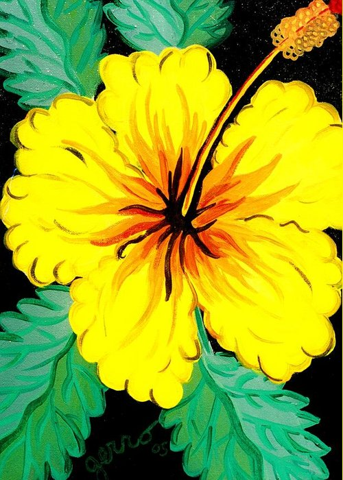Hibiscus Artwork Greeting Card featuring the painting Yellow Hibiscus by Helen Gerro
