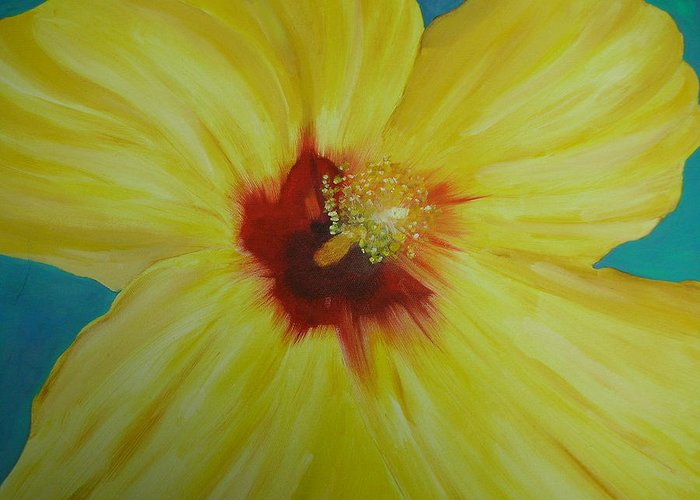 Flower Greeting Card featuring the print Yellow Hibiscus by Melinda Etzold