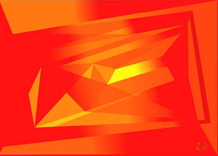 Red Greeting Card featuring the digital art Yellow In Red by Helmut Rottler