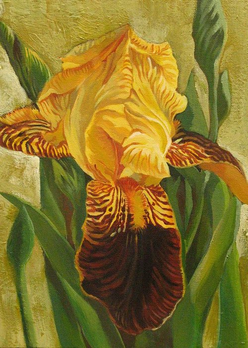 Iris Greeting Card featuring the painting Yellow Iris by Alfred Ng