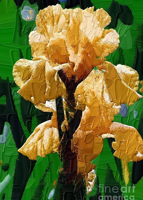 Diane Berry Greeting Card featuring the painting Yellow Iris by Diane E Berry