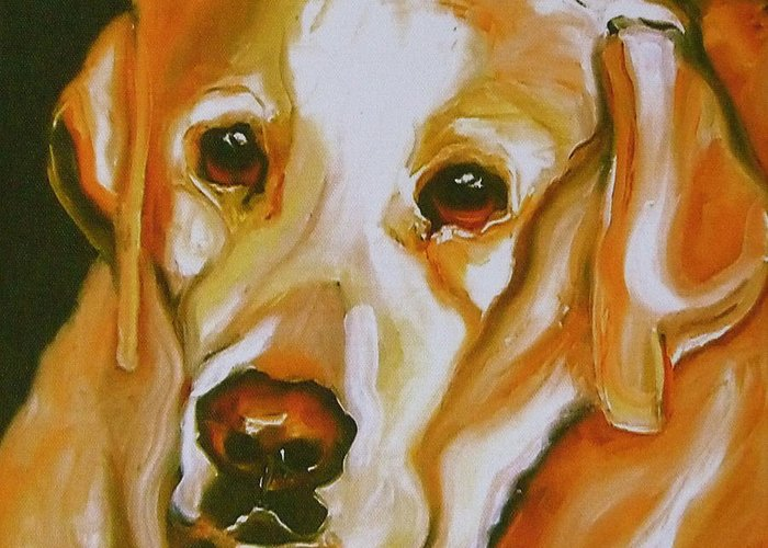 Oil Greeting Card featuring the painting Yellow Lab Amazing Grace by Susan A Becker