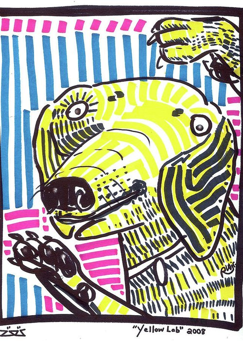 Rwjr Greeting Card featuring the painting Yellow Lab by Robert Wolverton Jr