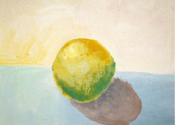 Lemon Greeting Card featuring the painting Yellow Lemon Still Life by Michelle Calkins