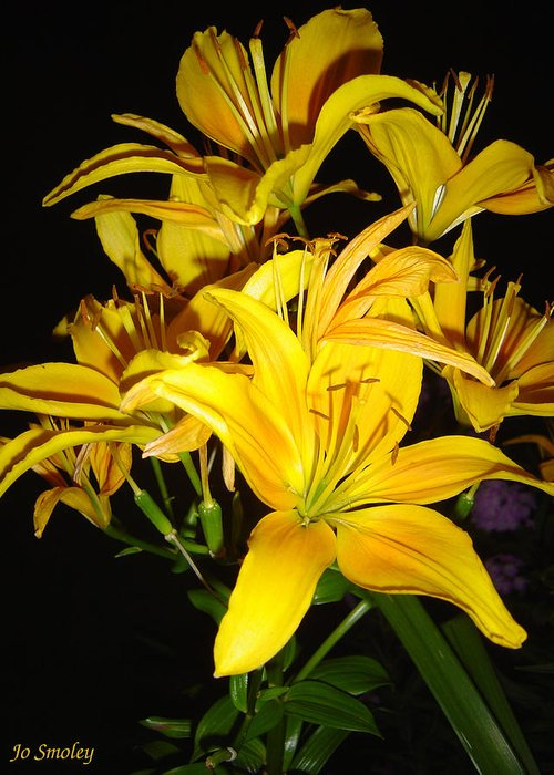 Yellow Lilies Bouquet Greeting Card featuring the photograph Yellow Lilies by Joanne Smoley