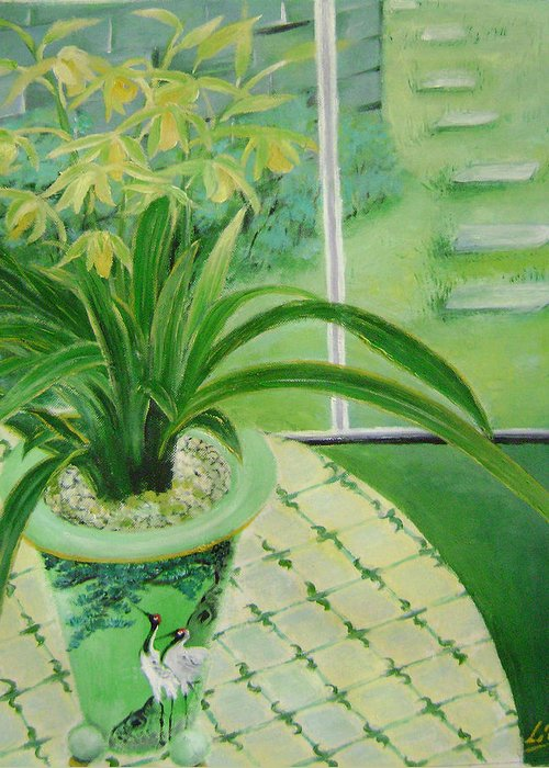 Floral Greeting Card featuring the painting Yellow Orchids by Lian Zhen