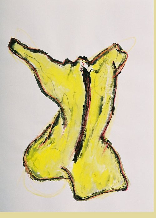 Drawing Greeting Card featuring the drawing Yellow by Oudi Arroni