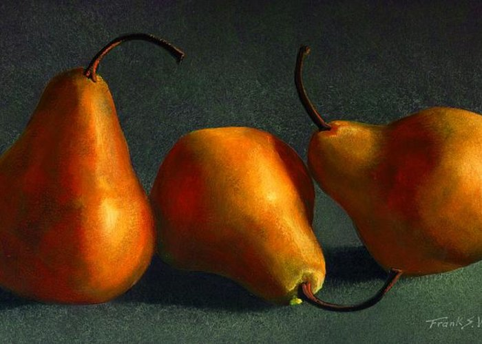Still Life Greeting Card featuring the painting Yellow Pears by Frank Wilson