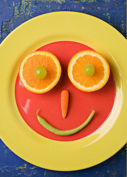 Face Greeting Card featuring the photograph Yellow Plate With Food Face by Garry Gay