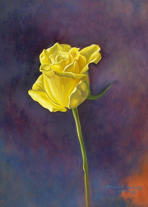 Floral Greeting Card featuring the painting Yellow Rose by Arnold Hurley