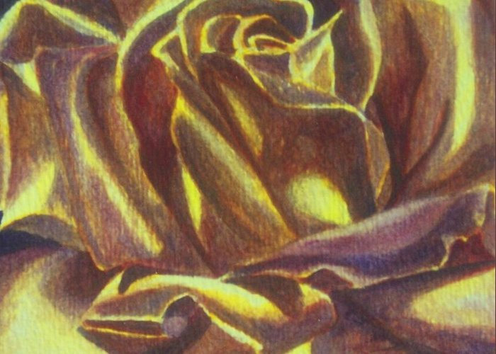 Rose Greeting Card featuring the painting Yellow Rose by Emily Young