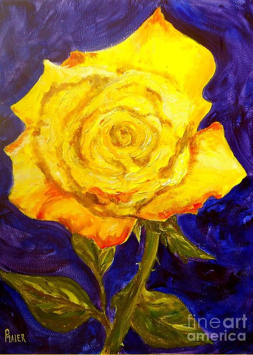 Rose Greeting Card featuring the painting Yellow Rose by Pete Maier