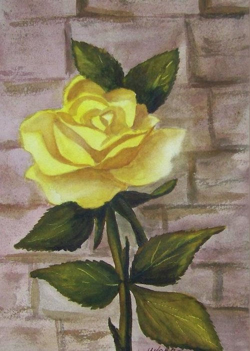 Flower Greeting Card featuring the painting Yellow Rose by Yvonne Kinney