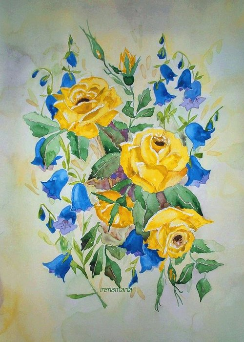 Roses Flowers Greeting Card featuring the painting Yellow Roses And Blue Bells by Irenemaria