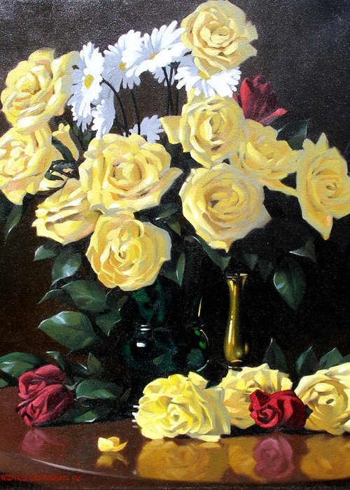 Roses Greeting Card featuring the painting Yellow Roses by Kevin Lawrence Leveque