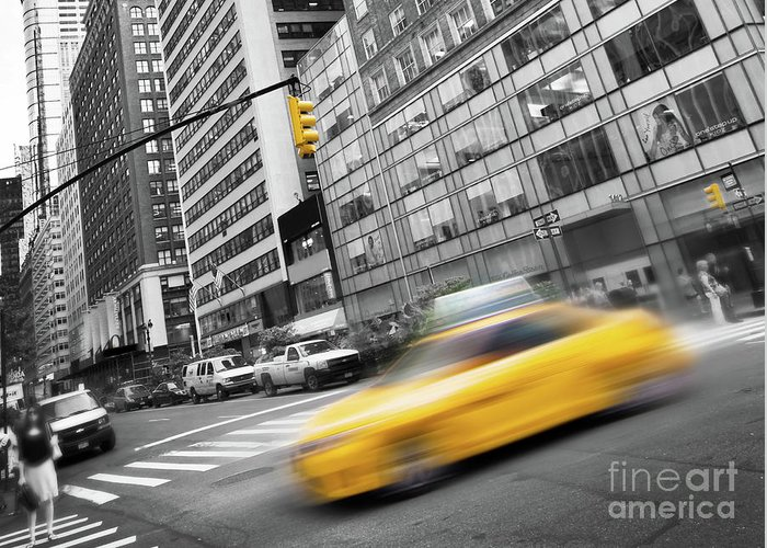New York Greeting Card featuring the photograph Yellow Taxi Nyc by Delphimages Photo Creations