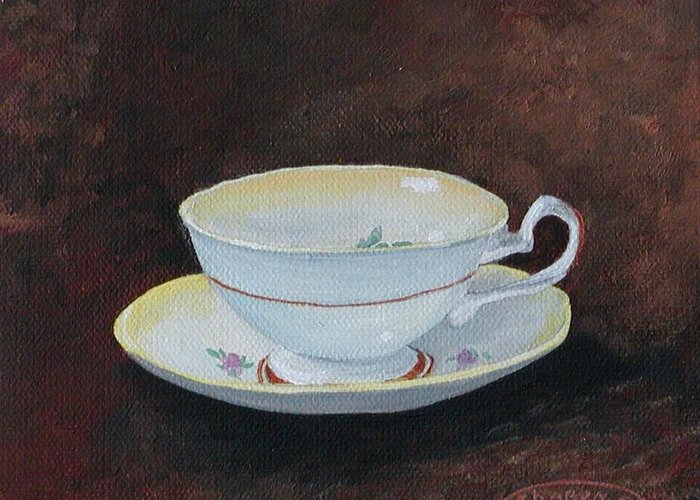 Cup And Saucer Teacup China Original Acrylic Greeting Card featuring the painting Yellow Teacup by Sharon Steinhaus