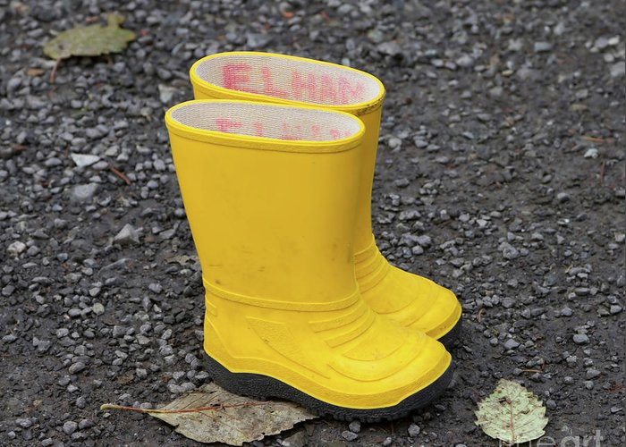 Yellow Greeting Card featuring the photograph Yellow Wellies by Louise Heusinkveld