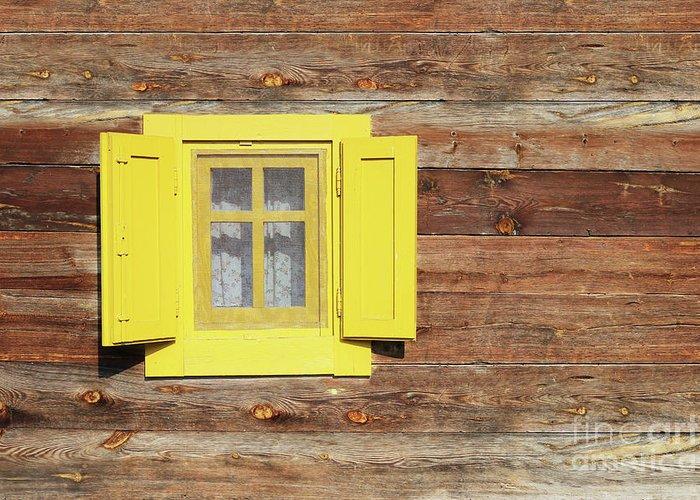 Window Greeting Card featuring the photograph Yellow Window On Wooden Hut Wall by Goce Risteski