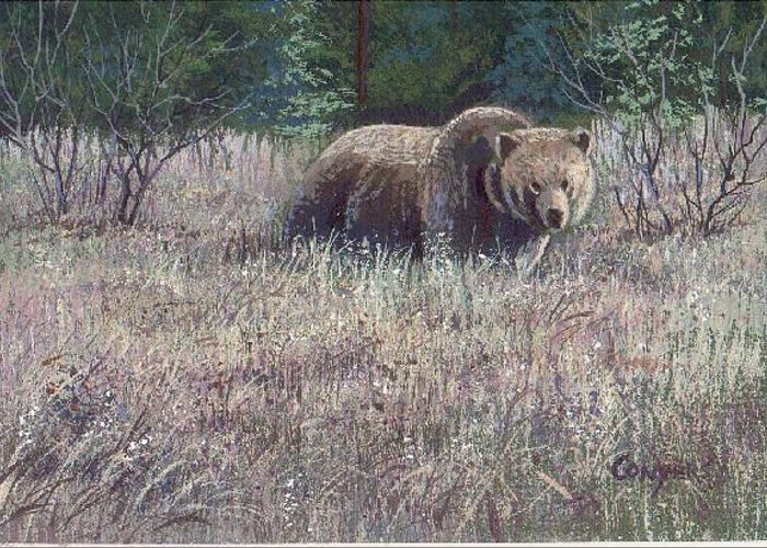 Bear Greeting Card featuring the painting Yellowstone Grizzley by Peggy Conyers