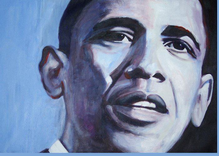 Barack Obama Greeting Card featuring the painting Yes We Can by Fiona Jack