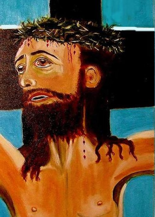 Jesus Greeting Card featuring the painting Yeshua by Rusty Gladdish
