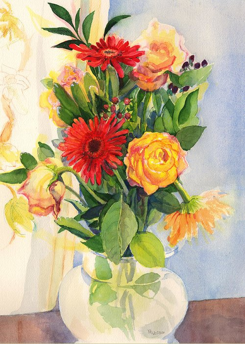 Watercolor Flowers Greeting Card featuring the painting Yesterdays Beauties by Nancy Watson