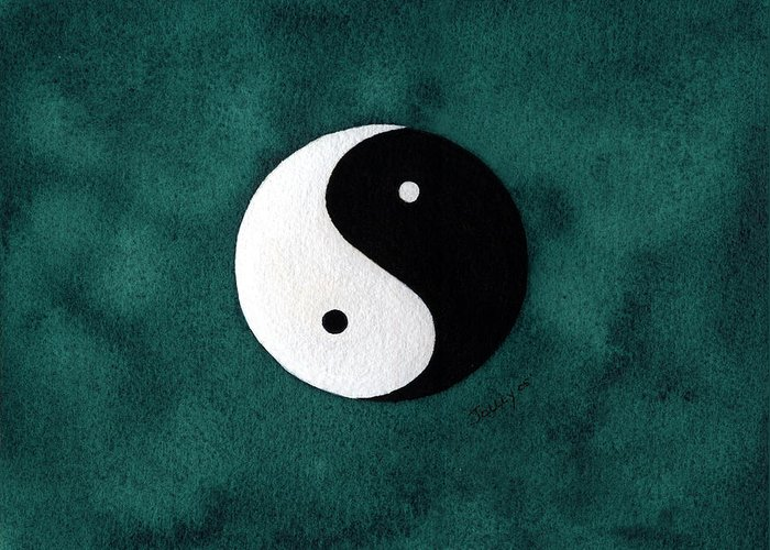 Yin-yang Greeting Card featuring the painting Yin Yang by Stephanie Jolley