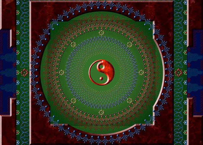 Mandala Greeting Card featuring the digital art Yin Yang by Stephen Lucas