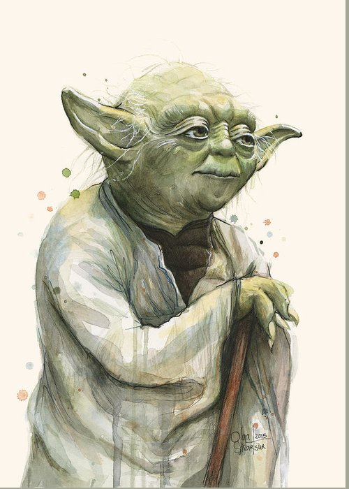 Yoda Greeting Card featuring the painting Yoda Portrait by Olga Shvartsur