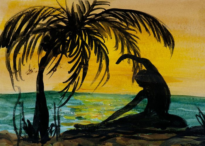 Yoga Seated Side Bend Greeting Card featuring the painting Yoga Seated Side Bend by Donna Walsh