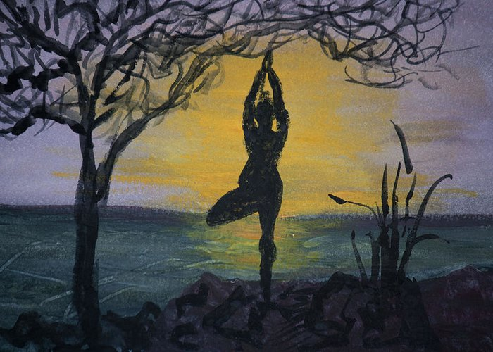 Yoga Tree Pose Greeting Card featuring the painting Yoga Tree Pose by Donna Walsh