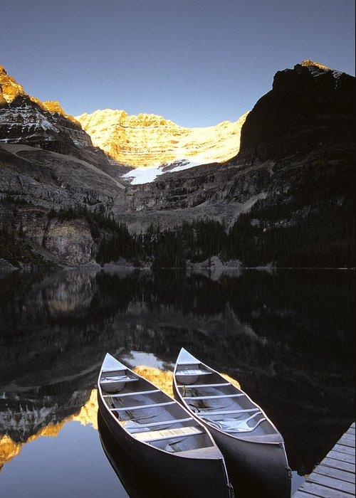 Canoe Greeting Card featuring the photograph Yoho National Park, Lake Ohara, British by Ron Watts
