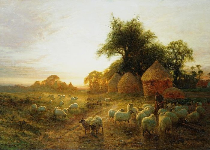 Joseph Farquharson Greeting Card featuring the painting Yon Yellow Sunset Dying In The West by Joseph Farquharson
