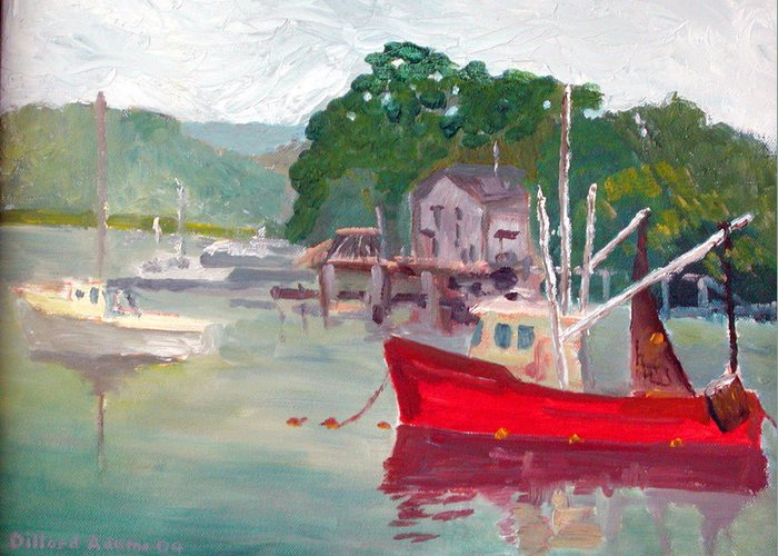 Boats Greeting Card featuring the painting York Harbor by Dillard Adams