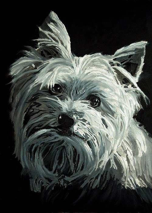 Animals Greeting Card featuring the painting Yorkie by Portraits By NC
