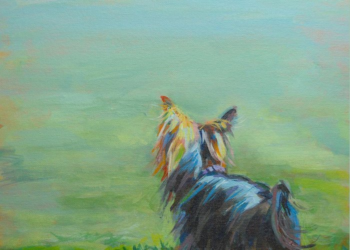 Yorkshire Terrier Greeting Card featuring the painting Yorkie In The Grass by Kimberly Santini