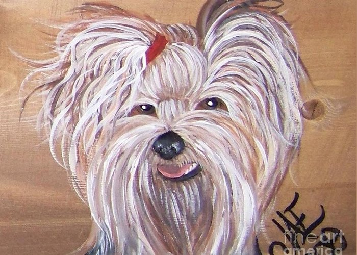 Yorkie Greeting Card featuring the painting Yorkie Smiles by Jena Gillam