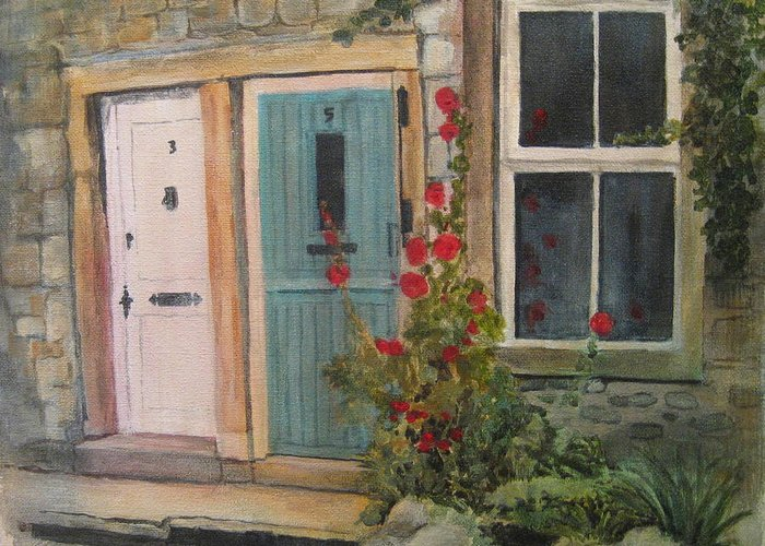 Yorkshire Greeting Card featuring the painting Yorkshire Cottages by Victoria Heryet