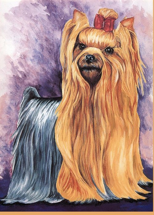 Yorkshire Terrier Greeting Card featuring the painting Yorkshire Terrier by Kathleen Sepulveda