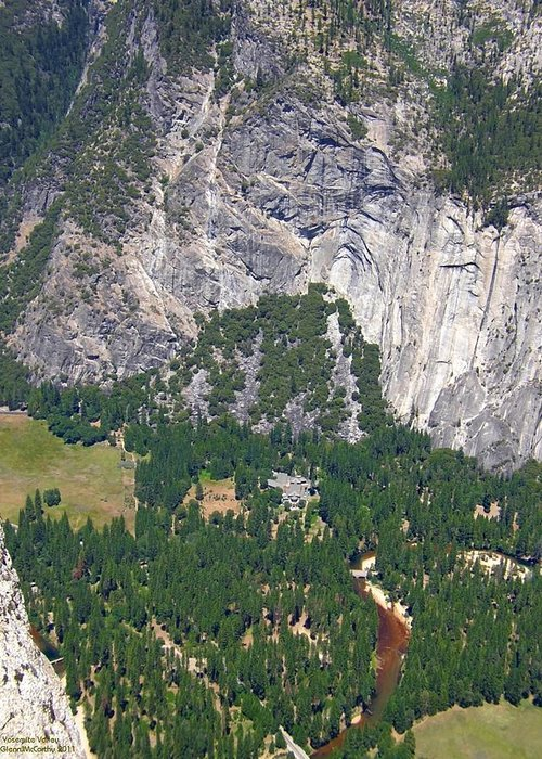 Yosemite Valley Greeting Card featuring the photograph Yosemite Aerial View - California by Glenn McCarthy Art and Photography