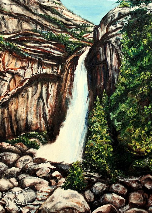 Landscape Greeting Card featuring the painting Yosemite Falls by Elizabeth Robinette Tyndall