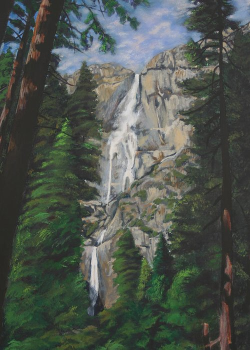 Landscape Greeting Card featuring the painting Yosemite Falls by Travis Day