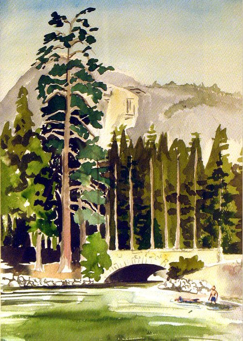 Watercolor Greeting Card featuring the painting Yosemite II by Bill Meeker