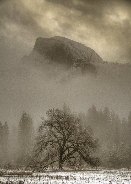 Beautiful Greeting Card featuring the photograph Yosemite In The Winter by Connie Cooper-Edwards