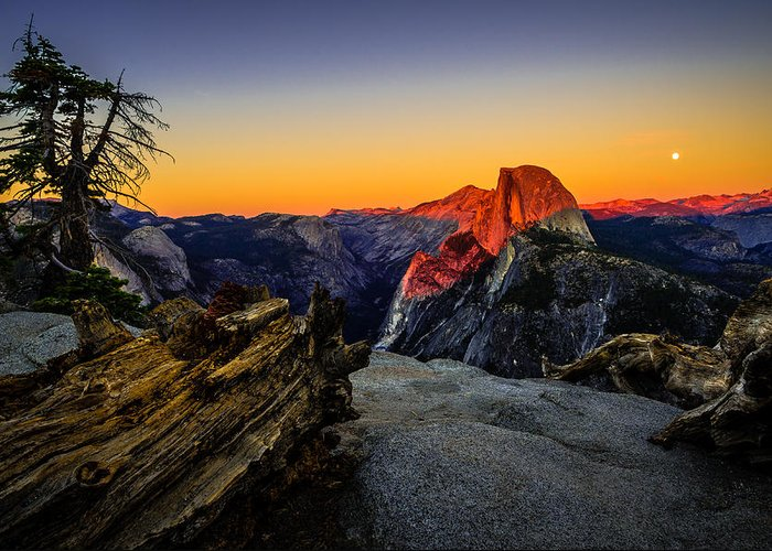 California Greeting Card featuring the photograph Yosemite National Park Glacier Point Half Dome Sunset by Scott McGuire