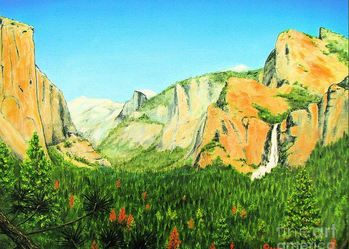 Yosemite National Park Greeting Card featuring the painting Yosemite National Park by Jerome Stumphauzer